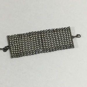 Rhinestone & Pearl Wide Bracelet from Express